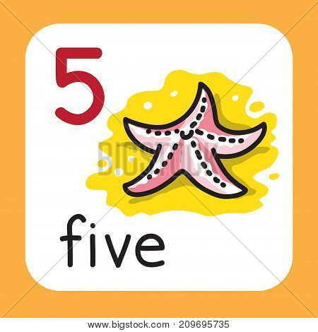 Education card 5. Sea star with five legs for learning counting from 1 to 10. Childrens vector illustration
