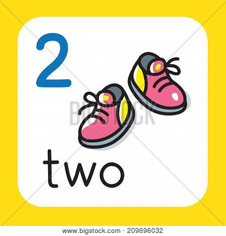 Education card 2. With two boots for learning counting from 1 to 10. Childrens vector illustration