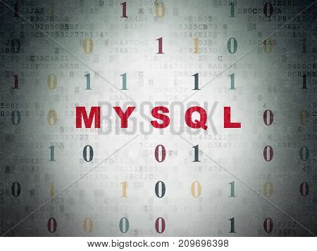 Database concept: Painted red text MySQL on Digital Data Paper background with Binary Code