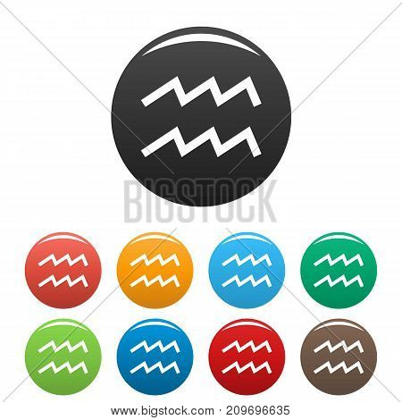 Aquarius zodiac sign icons set. Vector simple illustration of Aquarius zodiac sign icons background for any web design