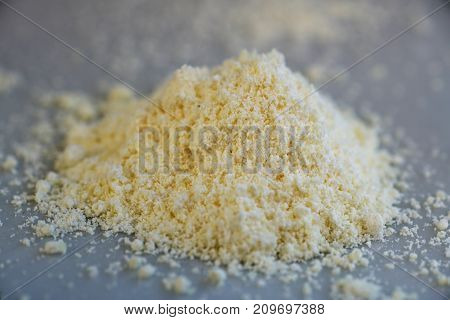 Yellow blood leaching salt powder from the chemical kit with macro lens.