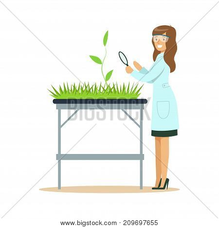 Woman biologist looking at green plant through magnifying glass in the laboratory. Female scientist at workplace. Smart person cartoon character in lab coat. Flat vector illustration isolated on white