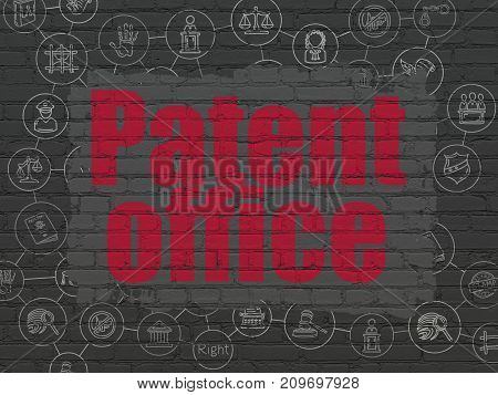 Law concept: Painted red text Patent Office on Black Brick wall background with Scheme Of Hand Drawn Law Icons