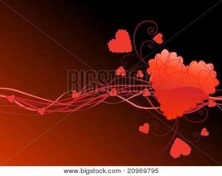 background with curve stripes, romantic red heart