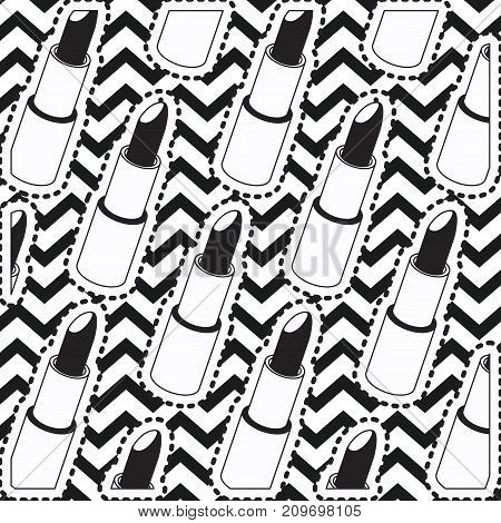 lipstick sticker set on pop art zig zag linear monochrome background vector illustration