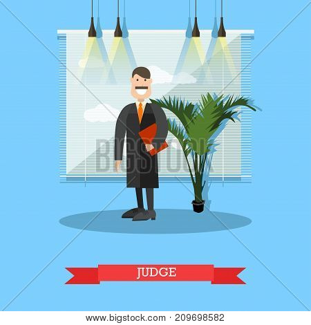 Vector illustration of professional judge in robe. Flat style design.
