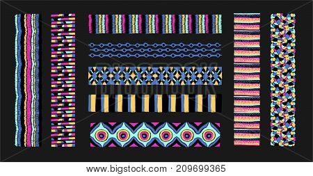 Set of ethnic art brushes in African style. The Aztec pattern. Oriental lace tape. Indian jewel. Embroidery on fabric. Asian ornament. Tribal art. The decoration of clothes. Ribbon, border.