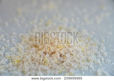 Chemical substances in close up or powder from the chemical kit with macro lens.