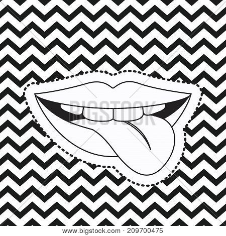 mouth gesture biting the tongue sticker on pop art zig zag linear monochrome background vector illustration
