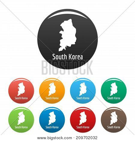 South Korea map in black set. Simple illustration of South Korea map vector isolated on white background