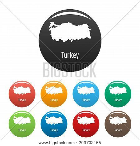 Turkey map in black set. Simple illustration of Turkey map vector isolated on white background