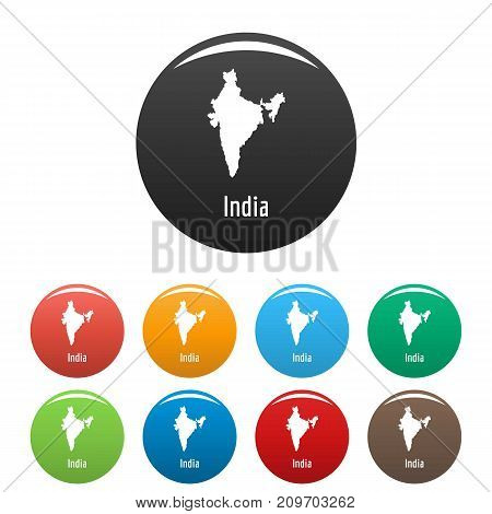 India map in black set. Simple illustration of India map vector isolated on white background