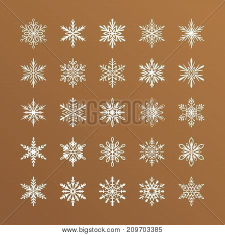 Cute snowflakes collection isolated on gold background. Flat snow icons, snow flakes silhouette. Nice element for christmas banner, cards. New year ornament. Organic and geometric snowflake set.