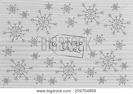 Winter Sale Price Tag Surrounded By Snowflakes