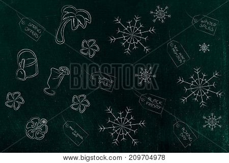 Winter And Summer Price Tags Surrounded By Beach Items And Snowflakes