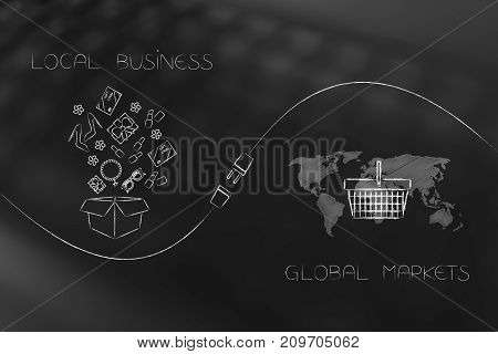 Parcel With Products And World Map With Shopping Basket With Plug In Between