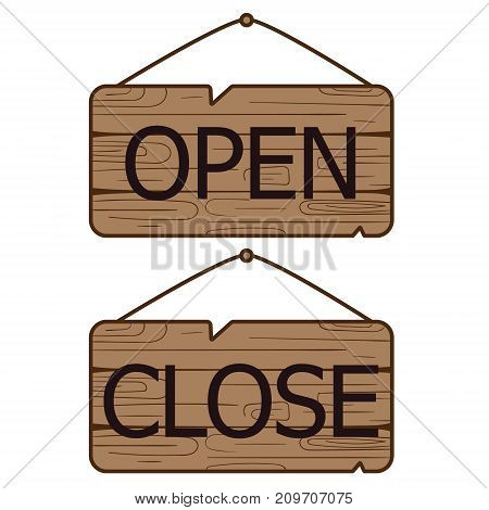 Open Close signs made of wood. Vector illustration.