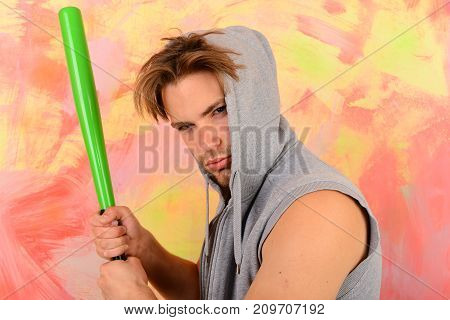 Man With Bristle On Colorful Background. Gangster With Serious Face