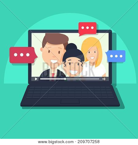 Video chatting online on computer vector illustration, flat cartoon video player window with speaking happy girls and boy and bubble speeches messages on laptop, concept of on-line chat app, internet talk call