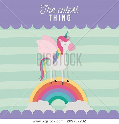 the cutest thing poster with unicorn over rainbow and lines colorful background vector illustration