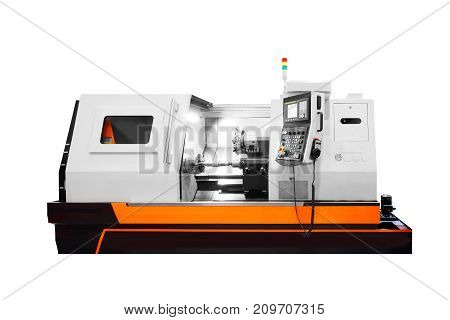 Manufacturing professional lathe machine. Industrial concept. Programmable modern digital lathe isolated on white background