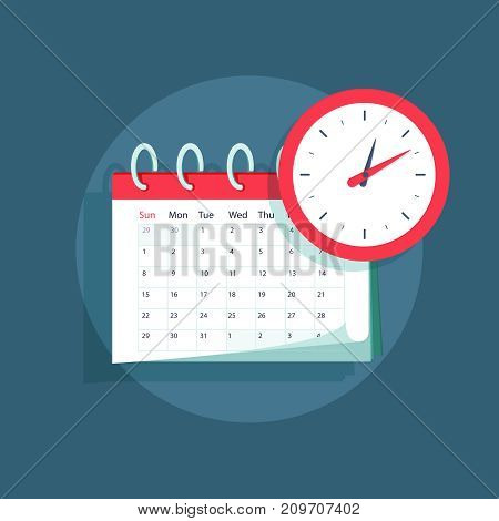 Vector calendar and clock icon. Schedule, appointment, important date concept. Modern flat design illustration. Vector illustration