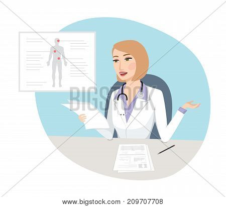 Strange diagnosis - Confused female doctor holding tests results with medical infographic on the office