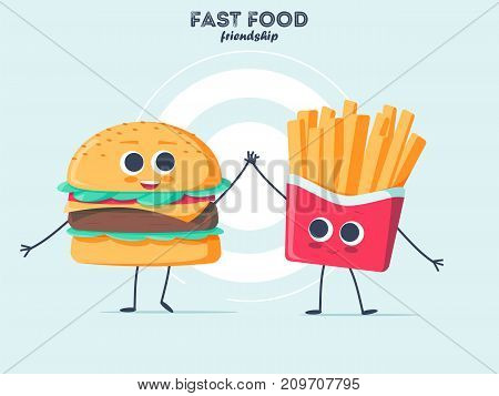 Vintage food poster design with burger and fries character. Colorful Fast food vector isolated on background. Fast food hamburger dinner and restaurant, tasty set fast food many meal