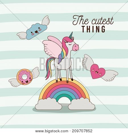 the cutest thing poster with unicorn over rainbow with cloud and heart and donut with wings and lines colorful background vector illustration