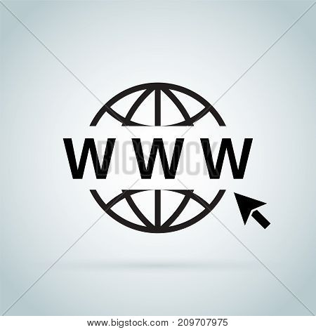 Click to go to online website or internet flat vector icon for apps and websites. Go to web Icon in trendy flat style isolated on grey background. Website pictogram. Internet symbol