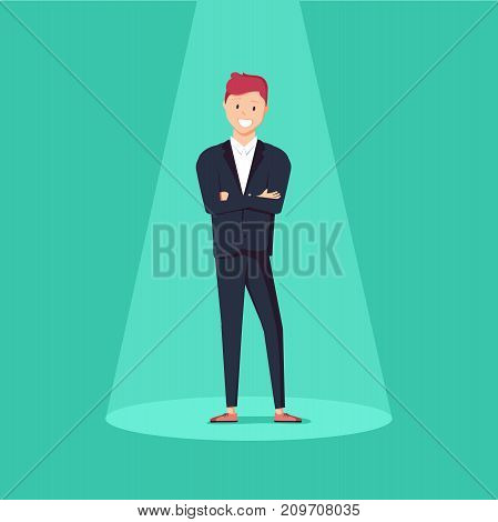 Business recruitment or hiring vector concept. Looking for talent. Businessman standing in spotlight or searchlight looking for new career opportunities. Eps10 vector illustration.