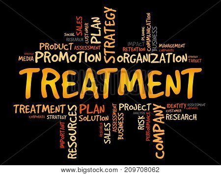 Treatment word cloud collage , business concept