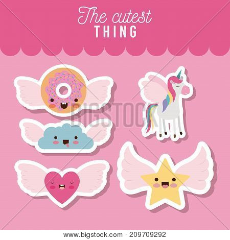the cutest thing poster set of donut and cloud and heart and star with wings and unicorn over pink background vector illustration