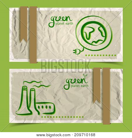 Horizontal abstract eco banners set with doodle drawings on crumpled paper with white frames and brown ribbons on green background vector illustration