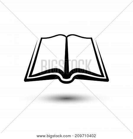 Open book icon. Vector flat black and white sign