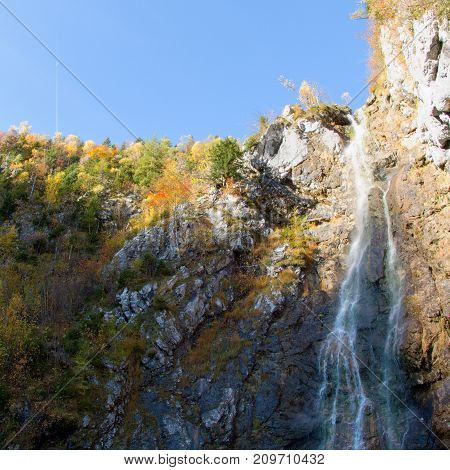 Klinserfall Waterfall In Totes Gebirge Mountains