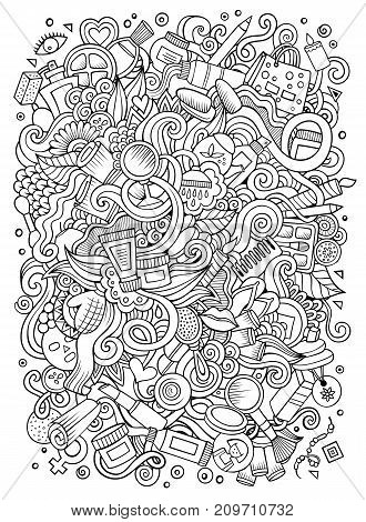 Cartoon cute doodles hand drawn cosmetics frame design. Line art detailed, with lots of objects background. Funny vector illustration. Sketchy illustration with beauty theme items
