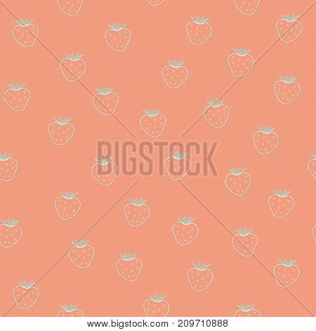 Seamless pattern with strawberry. Summer vector background