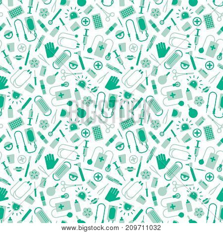 Medical seamless pattern with various instruments and symbols on white background flat vector illustration