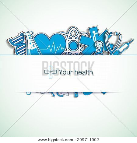 Light medical background with text field and medical instruments and signs flat vector illustration