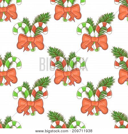 Merry Christmas and happy New Year seamless pattern with Santa and gifts on a blue background. Christmas candy cane. Stock vector.