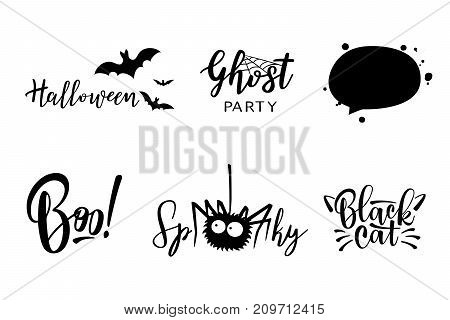 Halloween vector lettering set. Holiday calligraphy for banner, poster, greeting card, party invitation. Black and white illustration.