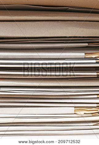 Stack of folders with documents, closeup