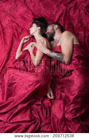 Man And Woman With Half Covered Bodies. Love And Sex