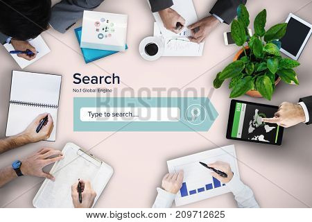 Business meeting against neutral background
