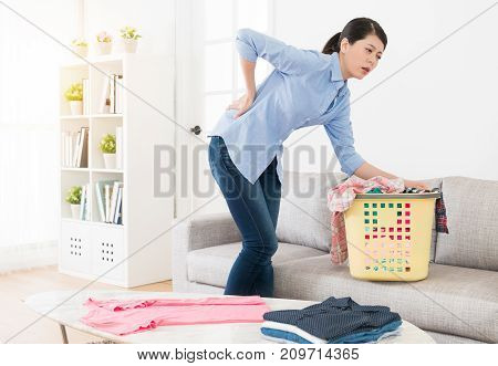 Attractive Beauty Housewife Feeling Waist Painful