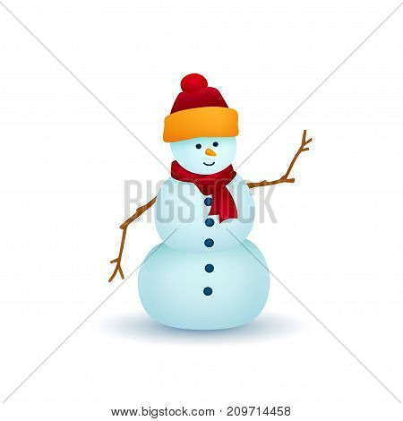 Christmas Snowman Isolated on White Background White Snowman in a Hat and Scarf Christmas Decorations Merry Christmas and Happy New Year