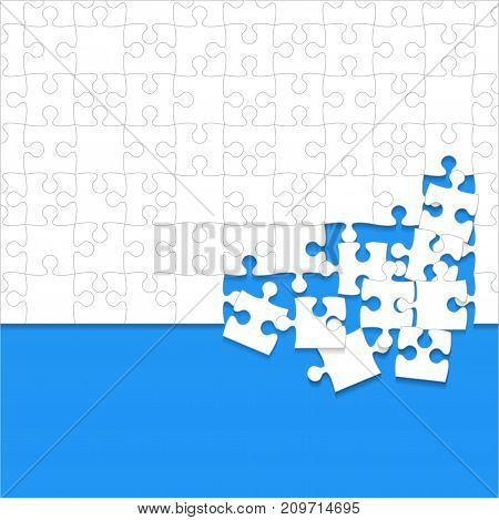 Some White Puzzles Pieces in Blue Background - Vector Illustration. Scattered Jigsaw Puzzle Blank Template. Vector Background.