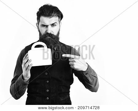 Bearded Man Holding Lunch Box With Serious Face