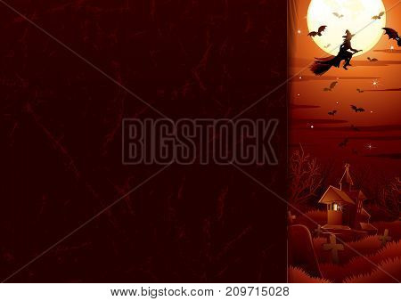Halloween background. Witch on the full moon. Vector
